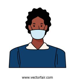 afro man using face mask for covid19 character