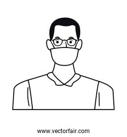 man using face mask and glasses for covid19 character