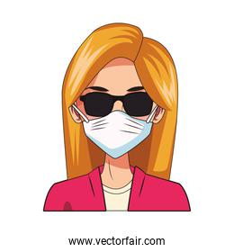 woman using face mask and sunglasses head character