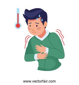 man sick with fever and thermometer covid19 symptom