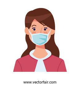 woman using face mask head character