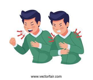 men sick with cough and chest pain covid19 symptom