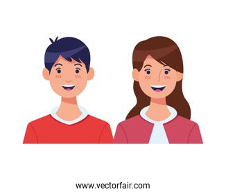young couple avatars characters icons