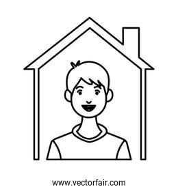 young man inside house character