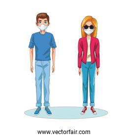 couple using face masks characters