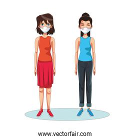 women using face masks head characters