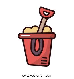 sand bucket and shovel fill style icon