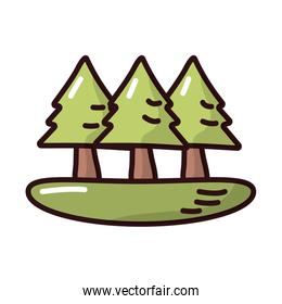 pines forest fill style icon