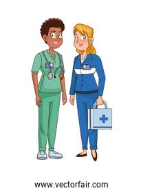 professional female paramedic and surgeon avatars characters