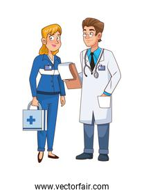 professional doctor and paramedic couple characters