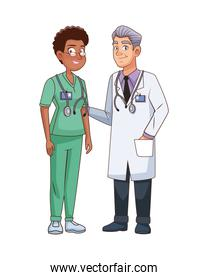 professional doctor and surgeon couple characters