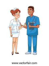 professional surgeon and nurse couple avatars characters