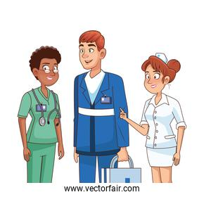 professionals medical staff workers characters