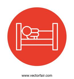 person with lying in bed, block style icon