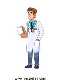 professional doctor with checklist character