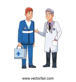 professional doctor and paramedic avatars characters