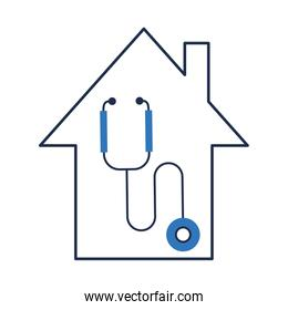 house facade with stethoscope icon