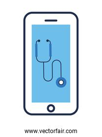 smartphone with stethoscope medical tool