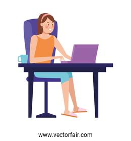 woman working in laptop character