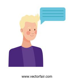 happy young man with speech bubble character