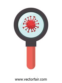 magnifying glass with covid19 particle pandemic