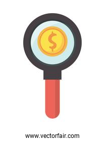 magnifying glass search with coin