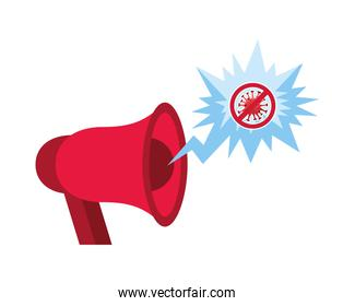 stop covid19 signal with megaphone