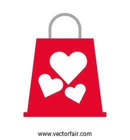 shopping bag market with hearts