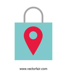 shopping bag market with pin location