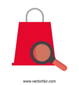 shopping bag market with magnifying glass