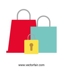 shopping bags market with padlock