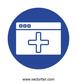 webpage with medical symbol health online silhouette gradient style
