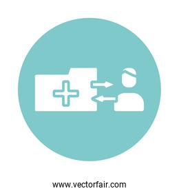 medical cross symbol in folder and avatar silhouette gradient style