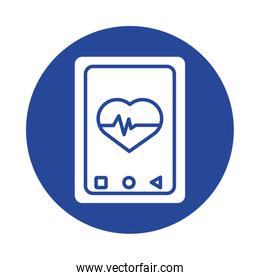 smartphone with heart cardio health online silhouette style