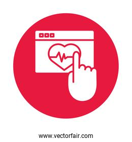 webpage with heart cardio health online silhouette gradient