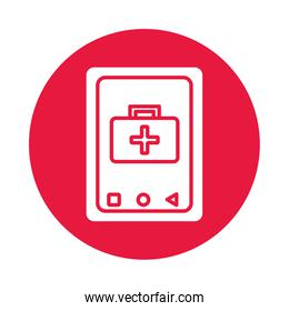 smartphone with medical kit health online silhouette gradient style
