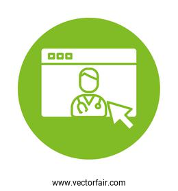webpage with doctor health online silhouette in block gradient style