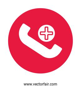 telephone with medical cross symbol silhouette gradient style
