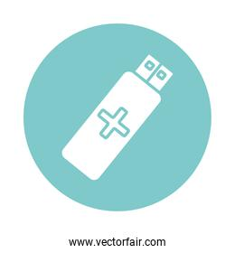 usb memory with cross health online silhouette style icon