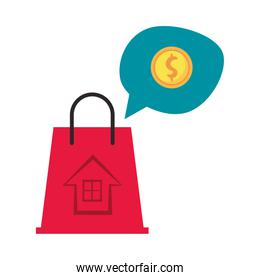 shopping bag market with speech bubble and coin