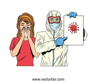 worker with biosafety suit and woman lifting covid19 poster