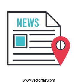 news paper with pin location
