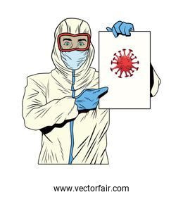 worker with biosafety suit lifting covid19 label