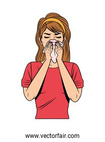 woman with runny nose for covid19 symptom