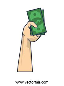 hand with bills money dollars isolated