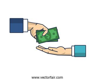 hands with bills money dollars isolated icon
