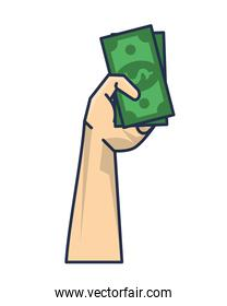 hand with bills money dollars isolated icon