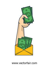 hand with envelope and bills money dollars