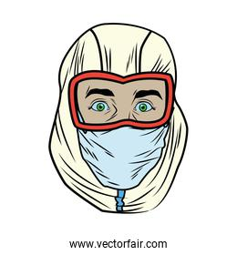 head worker with biosafety helmet character