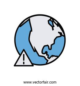 earth planet with alert symbol line and fill style